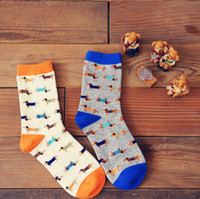 Wholesale Puppy Orange - Wholesale-35-43 Caramella animal socks Sausage dog dachshund Ido hvalp hush pup puppy huisdier pet szczeniak retail support wholesale zoo