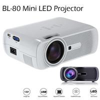 lcd tv usb juegos al por mayor-2016 BL-80 Mini proyector LED portátil 1000 lúmenes TFT LCD Full HD AV USB SD VGA HDMI Para videojuegos TV Cine en casa Proyector Proyector Beamer