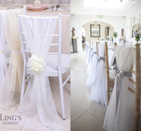 Wholesale Wedding Chiavari Chair Wholesale - Factory Lovely Ivory new Chiavari Chair Sashes 30d Chiffon 150cm * 50cm Wedding Chair Covers DIY Chair Bows Custom Made