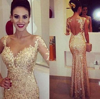 Wholesale Cheap One Shoulder Dress Nude - Mermaid Sheer Long Evening Dresses Shiny Champagne Sequined See Through Back One Shoulder Sleeve Vestidos De Festa Prom Pageant Gowns Cheap