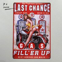 Wholesale Antique Wall Murals - DL-Last chance gas Metal Sign vintage garage wall art pin up poster coffee bar sign home decor antique tray