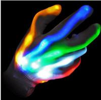 Wholesale glove light show resale online - LED Rave Gloves Mitts Flashing Finger Lighting Glove Mittens LED Colorful model Light Show night cycling gloves KTV bar novelty glove