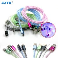 Wholesale Multicolor Cord - ZZYD Multicolor LED Lighting USB Charging Cables 1M Micro Cables Cord Data Sync For V8 Android Mobile Samsung S8