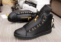 Wholesale Mens Hip Hop Shoes - Quality Men Leather Shoes 2016 Winter High Top Skull Gold Zipper Design men Shoes Hip Hop Skeleton Mens Joggers Zapatillas Homme,size39-44
