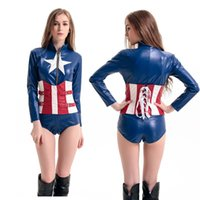 Wholesale Sexy Pu Clothing - NEW Arrival Sexy women Zipper PU Captain America The Avengers costume clothing halloween coat jumpsuits jacket set uniform