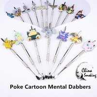 Wholesale Water Pokemon - Metal Dabbers Poke Packet Mon Cartoon glass bongs tool,water pipe, dab oil rigs smoking accessories grinder, glass bowl, silicone jar