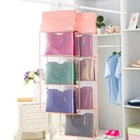 Wholesale Transparent Bag Korea - Korea 3 Girds L Transparent Hanging Peach Skin Towel Cloth Hats Scarf Organizer Storage Box Bins Lady Handbag Box for Your limitation Bags