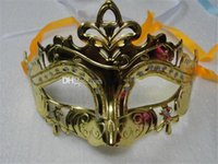 Wholesale mens masquerade party mask - Mens Woman Mask Halloween Masquerade Masks Mardi Gras Venetian Dance Party Face gold shining plated Mask 6 colors epacket