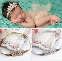 Wholesale Infant Tiara Headbands - Baby Tiara Headband Rhinestone and Pearl Tiara on Skinny Headband Infant Newborn Crown Headband Photo Prop 10pcs