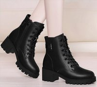 Wholesale Chunky Heel Buckle Boot - Fashion leather star women shoes woman boots leather short autumn winter boots ankle zapatillas sapatos femininos sapatilha zapatos mujer.