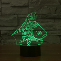 New USB Acrylic Watch The Seven Color Goldfish Nightlight Quarto Escritório LED lâmpada de mesa Criança Ocean World Natal Gift-3D-TD157