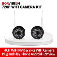 Wholesale 2 Channel Wireless Camera NVR Kit With P WIFI IP Camera Outdoor NightVision P2P View Plug And Play CCTV Security Surveillance System