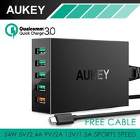 Nexo Galaxia Al Por Mayor Baratos-Wholesale-AUKEY Carga rápida 3.0 5-Port USB estación de carga con el cable Micro-USB para Samsung Galaxy S7 / S6 / Edge LG G5 iPhone iPad Nexus 6P