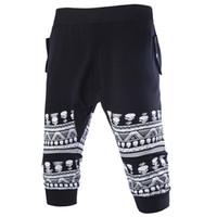Wholesale Summer Skull Pants - Wholesale-2016 men's new head of the skull print sports pants seven pants in summer 7 points pants P23 Y087