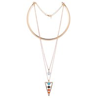 Wholesale Triangle Shape Zircon - Triangle Shape Zircon Pendant Necklace Geometry Turquoise Colorful Beads Choker Necklace Crystal Rhinestone Jewelry Gifts for Women