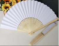 gelinli fan beyaz toptan satış-Stokta DHL Nakliye 2016 sıcak satış beyaz gelin fanlar içi boş bambu kolu düğün aksesuarları Hayranları Parasols ücretsiz kargo