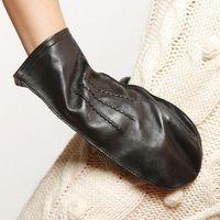 Wholesale Genuine Sheepskin Mittens - Fashion Fingerless Gloves 2016 Winter Sheepskin Genuine Leather Glove Wrist Women Finger Less Mittens New Arrival L091ns