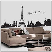 Wholesale Eiffel Tower Stickers - 60*90cm Removable Wall Stickers Classic Modern Paris Eiffel Tower Wall Stickers Home Decor Restaurants Living Room New Free Shipping