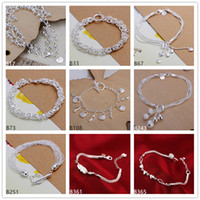Wholesale Bags 925 Sterling Silver Charms - Matte beads heart hanging shoe bag sterling silver bracelet 8 pieces mixed style GTB3 Brand new fashion women's 925 silver bracelet
