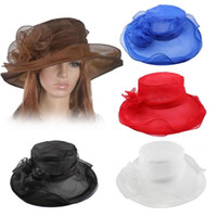 Wholesale Vintage Floral Hats - Fashion vintage net yarn Wide Brim Floral Hats party wedding top hat women girl summer sun hat cap solid color drop shipping