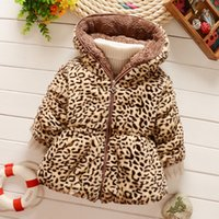 Wholesale Baby Leopard Coat Outwear - Baby Girls Cashmere Thicken Warm Coats Outwear 2016 Winter Children Leopard Zipper Hooded Coat Kids Clothing Cute Girl Clothes