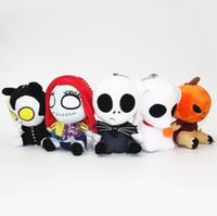 Wholesale Toy Pumpkins - Nightmare Before Christmas Jack Plush Toy skull deformity pumpkin blame Sally 5 styles 16cm plush toy doll pendant
