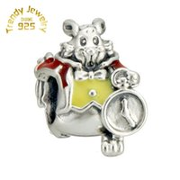 Perle De Lapin Rouge Pas Cher-Vente en gros Charm S925 Sterling Silver White Rabbit With Red Yellow Enamel Charms Beads Fit Snake Bracelets Fashion DIY Jewelry 5pcs / lot