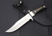 Wholesale ebony wood knife - Browning Knife Full Tang Ebony Wood Bowie Knives Hunting Knife H18 Tactical Knife With Wood Handle HK Free Shipping