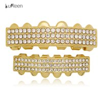 Wholesale Dj Jewelry - Lureen 14k Gold Silver Grillz Teeth 3 Row Rhinestone CZ Iced Out Top and Bottom Teeth Set Hip hop Grillz Bar DJ Jewelry