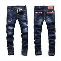 Wholesale Stylish Dot - 2017 New Italy Fashion HI-Q Luxury Brand DSQ jeans Stylish Paints dots Broken Holes Slim-fit Denim D2 men Jeans