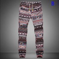 Wholesale Harems Floral - Wholesale-New Fashion Men's joggers pants Print Harem Pants Long Style Floral Print Cotton Linen elastic waist Pants trousers men 19