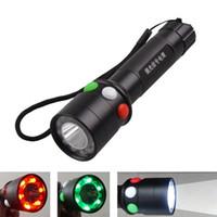 parlak kırmızı rgb toptan satış-Yeni Q5 Parlak Tricolor LED El Feneri Beyaz Kırmızı Yeşil Demiryolu Sinyal meşale ışığı Mini tri-clolor feneri