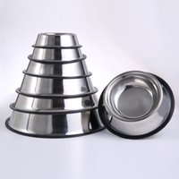 Wholesale Stainless Steel Dog Bowl Wholesale - Stainless Steel Dog Bowl Round Thickened Wear Resistant Pet Feeders Dishes Anti Skid Ring Cat Dogs Bowls 12 5yr BC