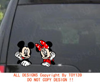 """Wholesale Animal Tail Mouse - Mickey & Minnie Mouse """"Peeking"""" Vinyl funny good looking Car phone window wall Decal  reflective sticker red"""