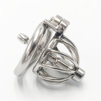 Wholesale Chasity Cages - Screw lock design small male chastity device 40mm chastity cage with catheter sounds new metal chasity devices for men