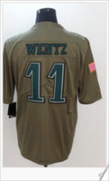 Wholesale M Pro - Philadelphia #11 Carson Wentz Salute To Service American College Football Stitched Uniforms Embroidery Mens Sports Team Pro Jerseys cheap
