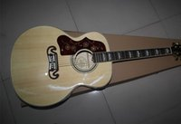 Wholesale Acoustic Factory - Left Handed On Sale Nature Burlywood Spruce Top J200 Maple Sides & Back Acoustic Guitar China Custom Factory Free Shipping