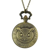 Wholesale Antique Bronze Owl Necklace - Fashion Vintage Style Owl Printed Quartz Pocket Watch Necklaces