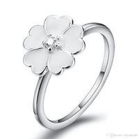 Wholesale Enamel Jewelry Stainless Steel - White Enamel Flower Zircon Ring European 925 Sterling Silver Pandora Jewelry Rings For Women Birthday Wedding Anniversary Gift 131