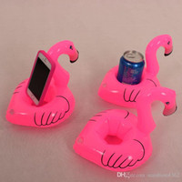 Wholesale Inflatable Trampolines For Kids - 12pcs lot Flamingo Inflatable Drink Botlle Holder Lovely Pink Floating Bath Kids Toys Christmas Gift For Kids S30263