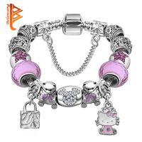 Wholesale Candy Charms For Bracelets - BELAWANG Lovely Candy PINK Murano Glass Beads Bracelet Kitty Heart Charm Bracelet For Women Girls DIY Original Bracelet&Bangles Jewelry
