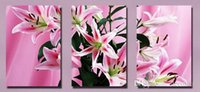 Wholesale Lily Paintings Art - Beautiful Pink Lily Flower Floral Picture Giclee Print On Canvas Home Decor Wall Art Set30279