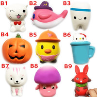 Wholesale Fox Wholesale Cell Phones - Squishy Toy beach tooth fox squishies Slow Rising 10cm 11cm 12cm 15cm Soft Squeeze Cute Cell Phone Strap gift Stress children toys 1010