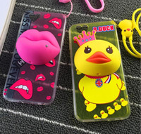 Moda 3D Cartoon Lanyard Silicone Cell Phone Case Duck Sexy Lips Design TPU Cell Phone Case com Kickstand para Iphone6 ​​Iphone6plus