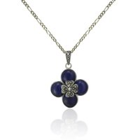 Wholesale Sterling Silver Lapis Jewelry - Lucky Clover Antique Sterling Silver Pendant with Marcasite Stone and Lapis Lazuli, Lucky Charm Pendant Jewelry- PS03110