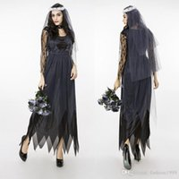 Wholesale Sales Role Play - Hot Sales 2016 Brand New Women Classic Games Role Play Halloween Ghost Bride Costumes Nightclubs Party Cosplay Black M L XL XXL