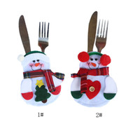 Wholesale Snowman Ornaments Sale - Hot Sale New Happy Christmas Table Decoration Snowman Gift Bags Tableware Silverware Christmas Dinner Party Decor Two Style Option