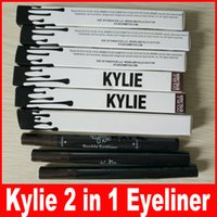Wholesale Eyebrow Pencils - Kylie Double-end Waterproof Double Sided Liquid Eyebrow Pen Eyeliner Eye Liner Pencil Makeup Cosmetic Tools Black+Brown
