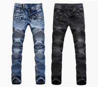 ingrosso la moda degli uomini blu pantaloni-Moda uomo commercio estero luce blu nero jeans pantaloni moto motociclista uomini lavaggio a fare i vecchi uomini pantaloni casual Runway Denim