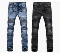 pantalon en jean pour hommes achat en gros de-Pantalon de jeans bleu clair noir jeans moto hommes biker hommes laver pour faire le vieux pli hommes Pantalons Casual Runway Denim